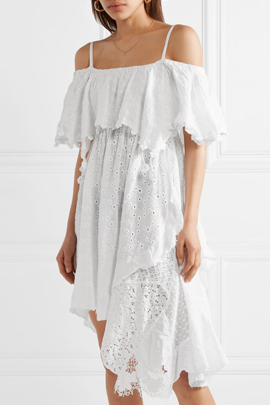 Anjuna Bianca schulterfreies Kleid aus Gaze aus einer Baumwollmischung