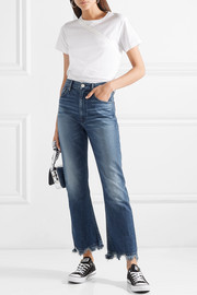 W5 Empire Crop distressed cropped high-rise bootcut jeans