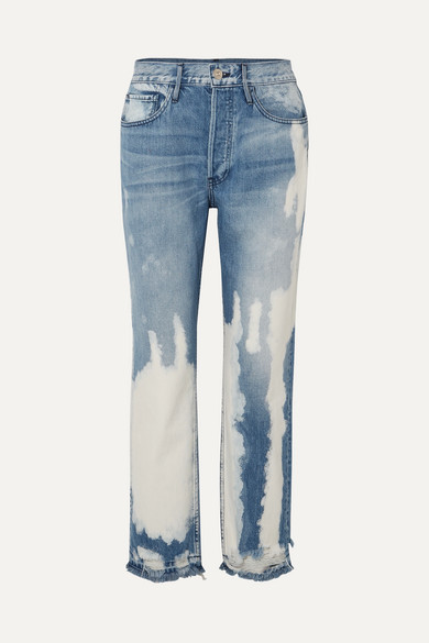 W3 Higher Ground Bleached Distressed High-Rise Straight-Leg Jeans in Mid Denim