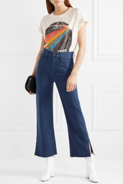 W4 Shelter cropped frayed high-rise straight-leg jeans