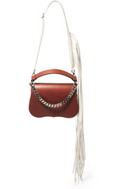 Fringed chain-trimmed leather shoulder bag