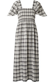 The Gimlet checked cotton and linen-blend midi dress
