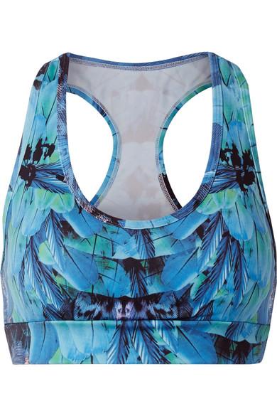 Bodyism - I Am Fantastic Printed Stretch Sports Bra - Blue