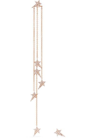 Diane Kordas - Star 18-karat Rose Gold Diamond Earrings
