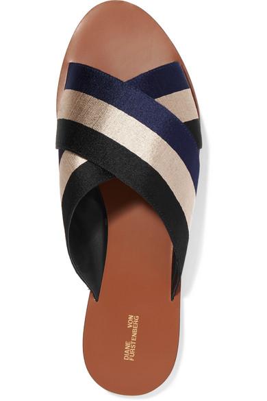 Diane Von Furstenberg Mules Of Striped Canvas