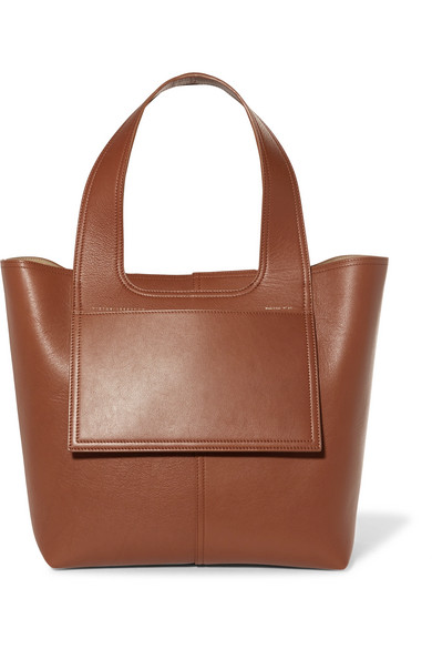 APRON LEATHER TOTE - BROWN