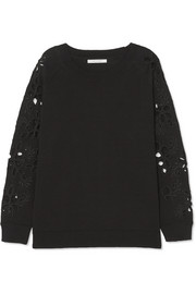 Broderie anglaise-trimmed cotton sweater