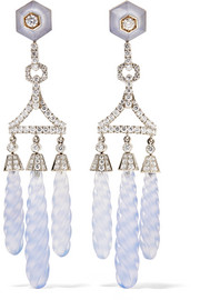 Fred Leighton Collection 18-karat white gold, chalcedony and diamond earrings