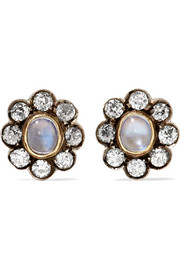 Fred Leighton 1890s sterling silver, gold, moonstone and diamond earrings