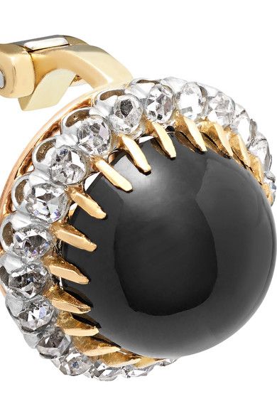 18-karat Gold, Platinum, Diamond And Onyx Clip Earrings - one size Fred Leighton