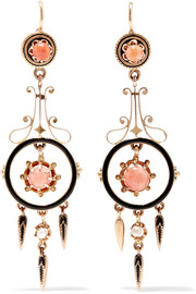 1880s 14-karat gold, enamel, coral and pearl earrings