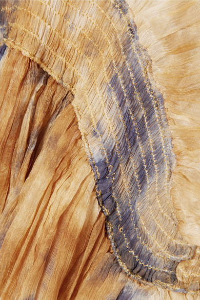 Mes Demoiselles Arizona Maxikleid aus Chiffon in Knitteroptik mit Rückenausschnitt und Raffung