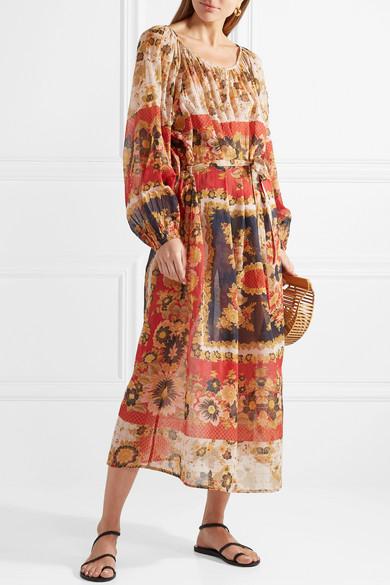 Mes Demoiselles Matrioshka bedrucktes Midikleid aus Baumwoll-Voile