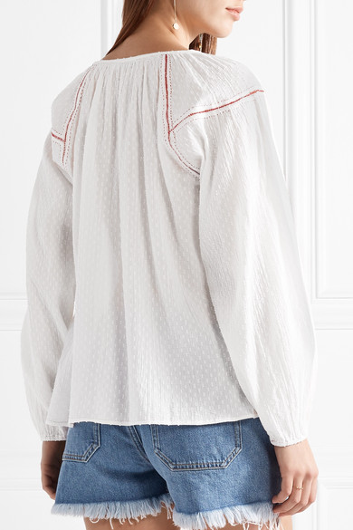 Mes Demoiselles Findus Bluse aus Baumwolle mit Fil Coupé und Stickereien