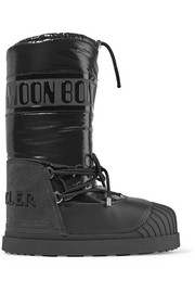 Moncler + Moon Boot Venus shell and textured-leather snow boots
