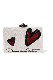 Oscar de la Renta Rogan embellished printed leather box clutch