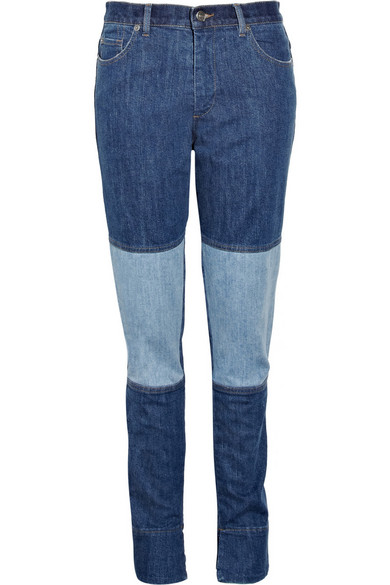 14973d5449 Patchwork high-rise skinny jeans