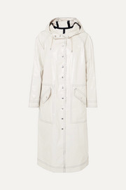 ALEXACHUNG Hooded coated cotton-blend trench coat