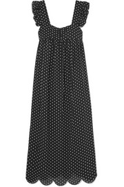 Fifi polka-dot jacquard midi dress