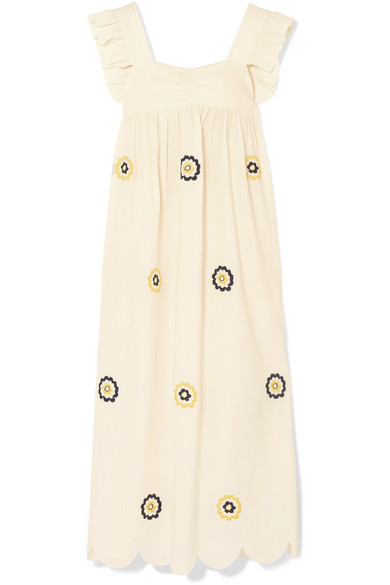 Embroidered Cotton Maxi Dress - Neutral AlexaChung Sale Many Kinds Of The Cheapest Buy Cheap Authentic Cheap Prices Authentic YFbezoJ