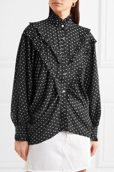 ALEXACHUNG Bluse aus Chiffon mit Polka-Dots