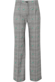 ALEXACHUNG Embroidered checked wool-blend wide-leg pants