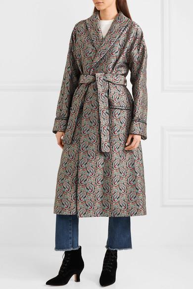 ALEXACHUNG Mantel aus Jacquard mit Gürtel