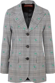 Embroidered checked wool-blend blazer
