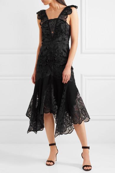 Jonathan Simkhai Asymmetrisches Kleid aus Organza und Popeline mit Stickereien