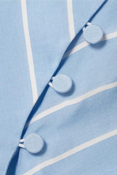 Jonathan Simkhai Oberteil aus gestreifter Popeline aus einer Baumwoll-Seidenmischung mit Lochstickerei