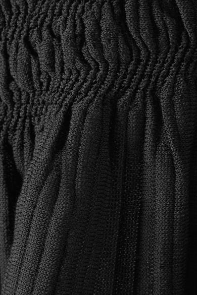 Jonathan Simkhai Schulterfreies, gerafftes Oberteil aus einer Baumwollmischung mit Stretch-Anteil