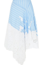 Broderie anglaise-trimmed striped cotton and silk-blend poplin skirt