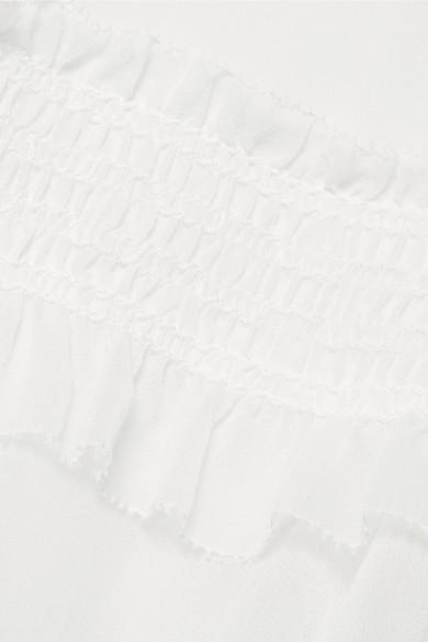 Jonathan Simkhai Bluse aus Seidenchiffon mit Rüschen- und Spitzenbesatz