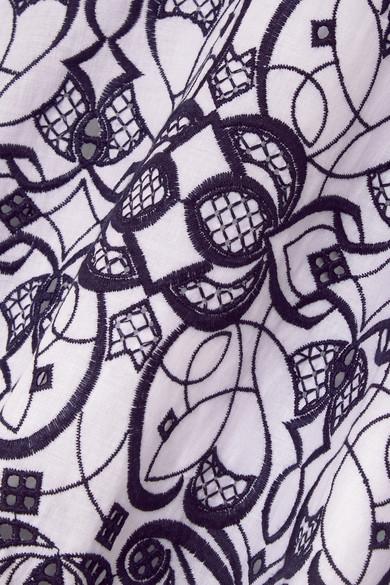 Jonathan Simkhai Kleid aus einer Baumwollmischung mit Lochstickerei