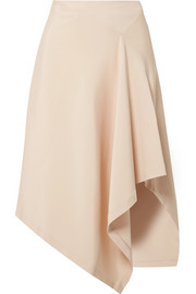 Asymmetric stretch-cady midi skirt