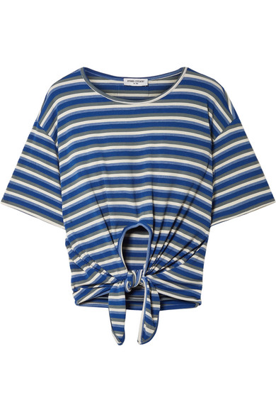 Woman Cropped Tie-Front Striped Ribbed Jersey Top Blue from LastCall.com