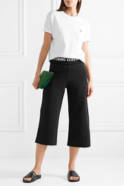 Cropped ribbed knit-trimmed cotton-jersey wide-leg pants
