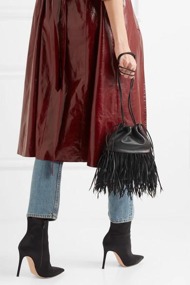 Alexander Wang Ryan Dustbag mini Beutel aus Leder mit Federn