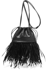 Ryan Dustbag mini feather-embellished leather pouch