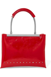 Dime small patent textured-leather tote