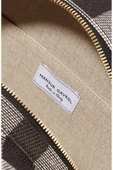 Mansur Gavriel Circle Schultertasche aus kariertem Baumwoll-Canvas mit Lederbesatz