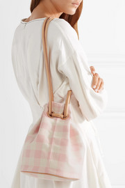 Leather-trimmed checked cotton-canvas bucket bag