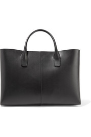 Folded mini leather tote
