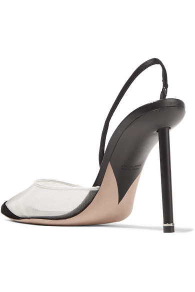 5c40b28659 Alexander Wang   Alix suede and leather-trimmed mesh slingback pumps ...