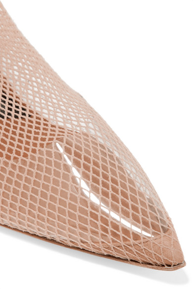 d315dde1fba Alexander Wang   Cleo suede and leather-trimmed fishnet over-the ...