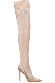 Cleo suede and leather-trimmed fishnet over-the-knee sock boots