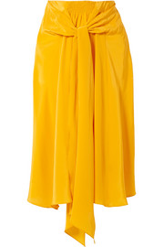 Knotted silk crepe de chine midi skirt