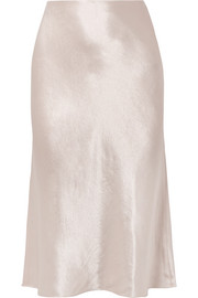 Hammered-satin midi skirt