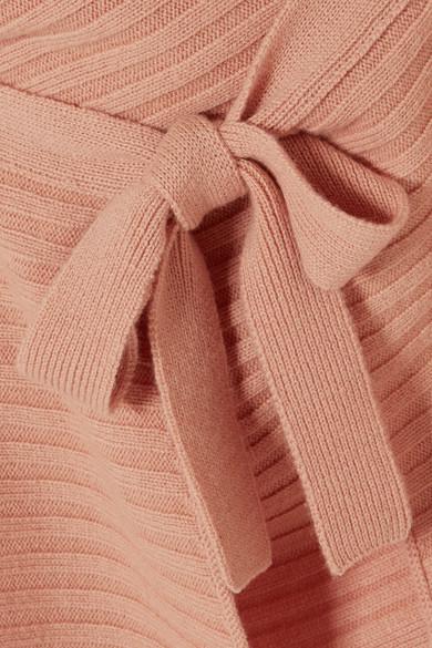 Vince Rippstrickpullover aus einer Woll-Kaschmirmischung mit Bindedetail