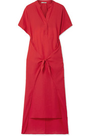 Tie-front cotton-twill midi dress